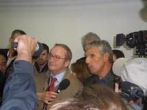 Inauguration de la démonstration de diffusion numérique hertzienne multinorme par Alain Méar et Rachid Arhab