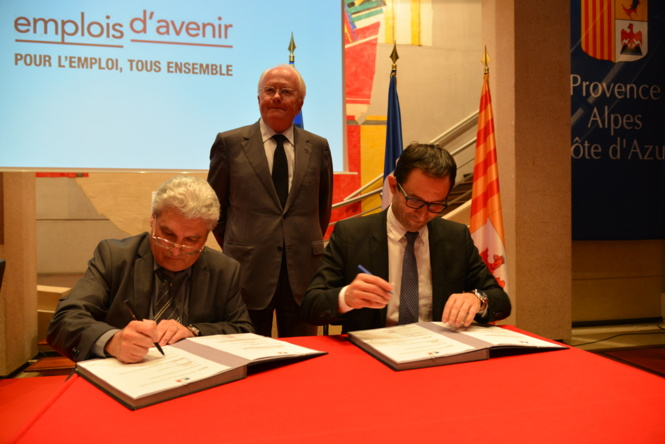 De gauche à droite : Emmanuel Boutterin, Michel Vauzelle, Benoît Hamon