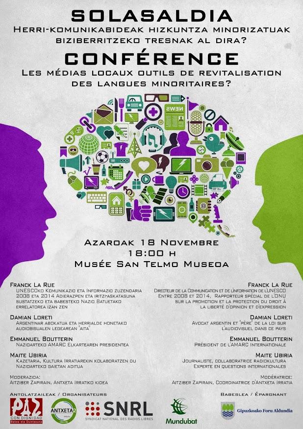 Biarritz 2016 : Droit à la communication et langues régionales à San Sebastian