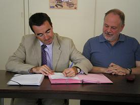 Jean-Louis Cabrespines, Président du Conseil National des CRES (à droite)