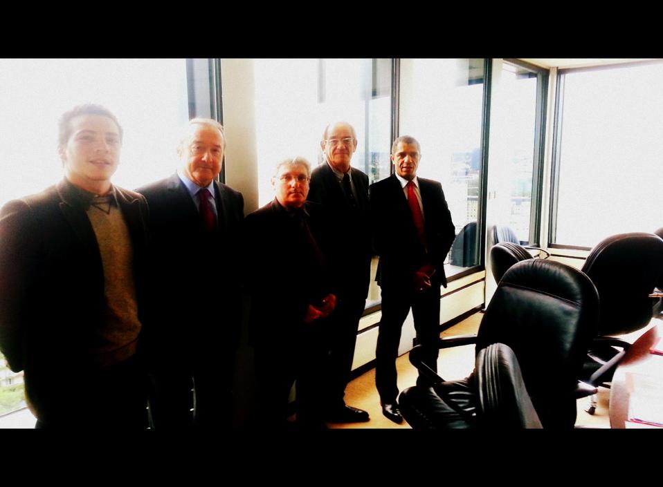 De gauche à droite : Pierre Montel, Délégué Général SNRL ; Alain Méar, Conseiller membre du CSA ; Emmanuel Boutterin, Président du SNRL ; Patrice Gélinet, Conseiller membre du CSA ; Emmanuel Gabla, Conseiller membre du CSA