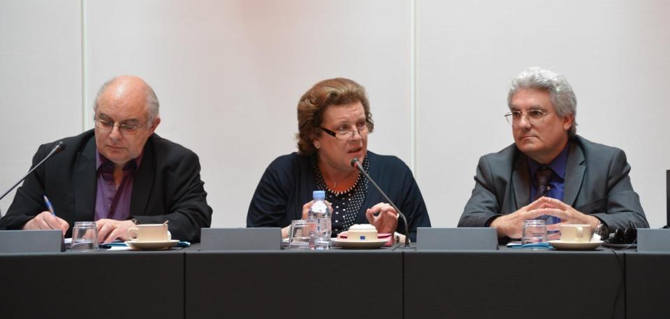 Eric Lucas, Délégué National du SNRL à la coopération ; Catherine Trautmann, Députée européenne ; Emmanuel Boutterin, Président du SNRL